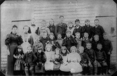 Montgomery with pupils from the Belmont School, circa 1897