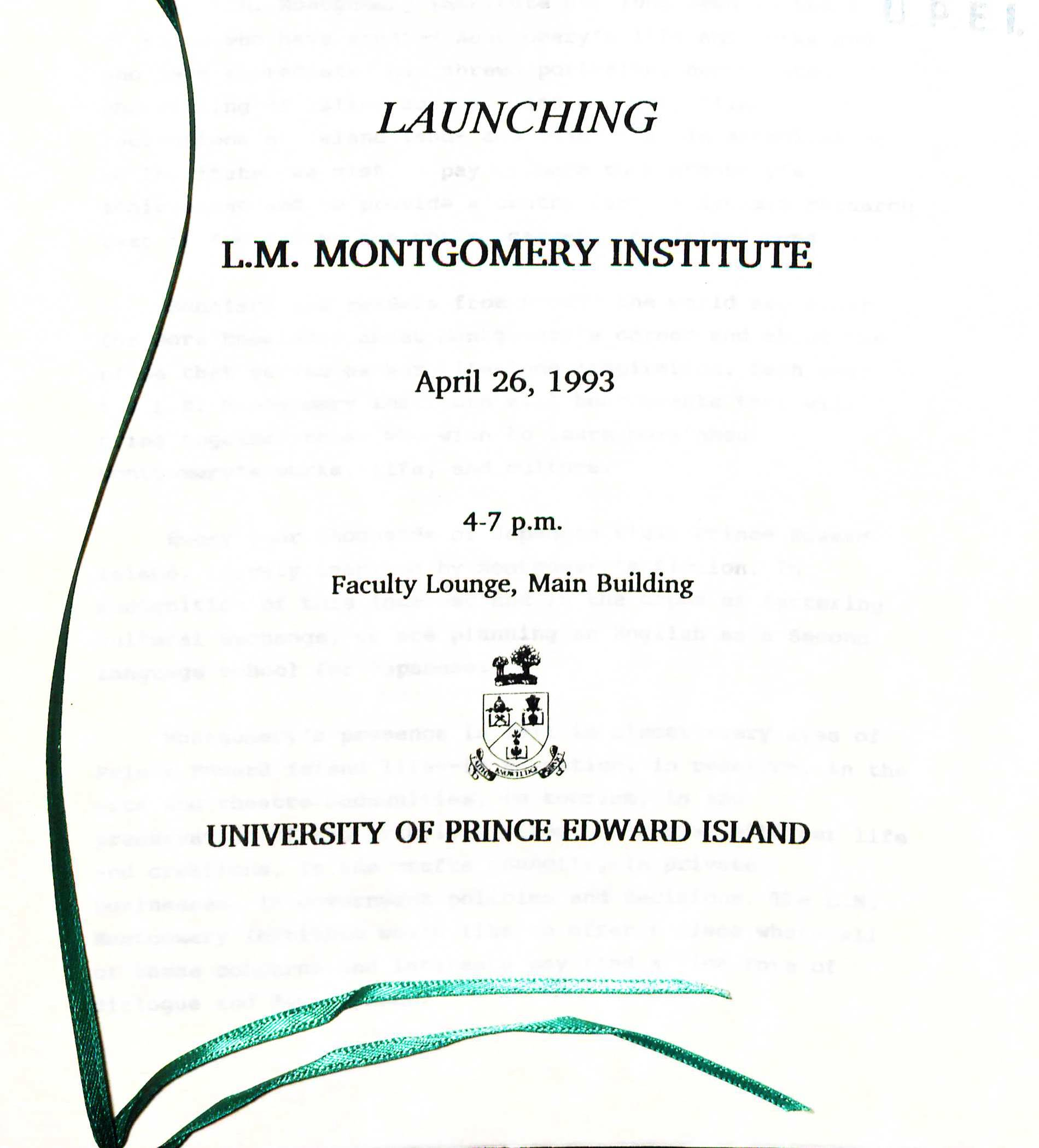 Program for the Launch of the L.M. Montgomery Institute